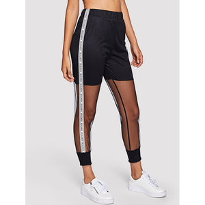 Sheer Mesh Panel Slogan Print Side Pants
