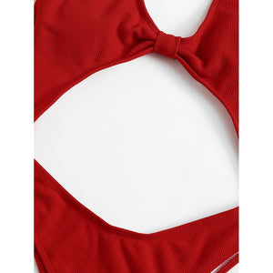 Cut-Out Plain Swimsuit