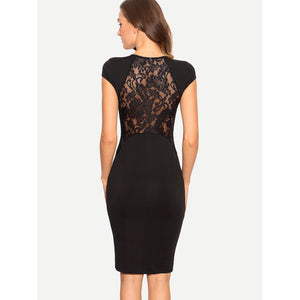 Black Lace Patchwork Cap Sleeve Sheath Dress