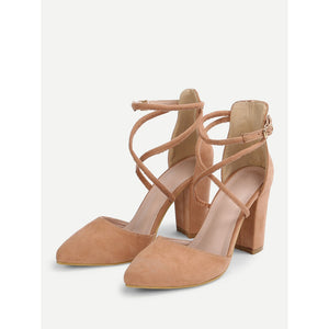 Criss Cross Block Heeled Pumps