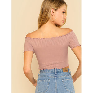 Lettuce Edge Bardot Crop Top