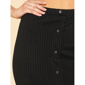 Button Up Ribbed Pencil Skirt