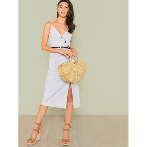 Asymmetric Placket Striped Cami Dress