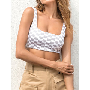Square Neck Checked Crop Top