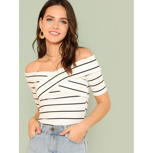 Crisscross Front Striped Ribbed Tee