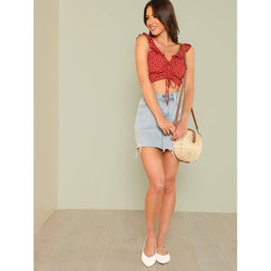Drawstring Front Crop Top With Ruffle Strap