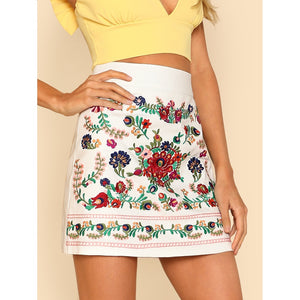Embroidered Wide Waist Skirt