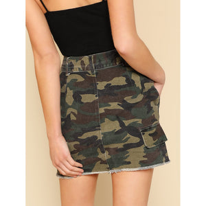 Distressed Hem Camo Skirt with Belt
