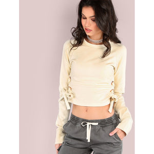 Cropped Side Lace Up Pullover CREAM