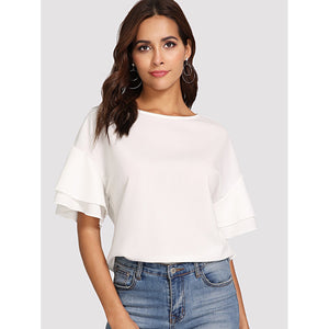 Drop Shoulder Layered Sleeve Top