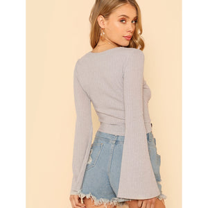 Bell Sleeve Drawstring Crop Top