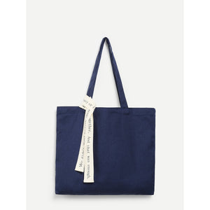 Canvas Shoulder Bag With Letter Strap