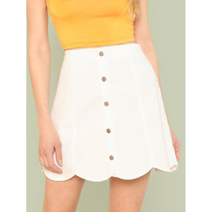 Button Detail Scallop Trim Skirt