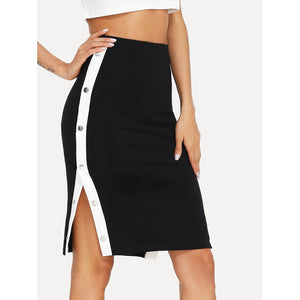 Contrast Snap Button Side Bodycon Skirt