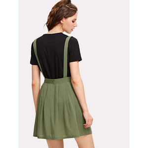 Adjustable Strap Pleated Pinafore Skirt