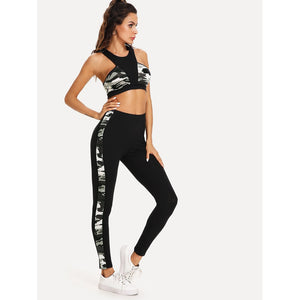 Cut And Sew Camo Print Sport Bra & Leggings Set
