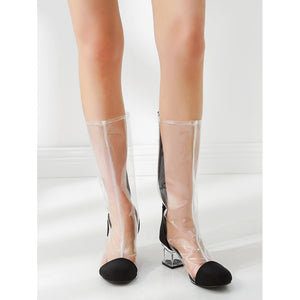 Clear Design Back Zipper PVC Boots