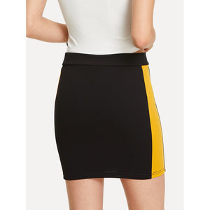 Color Block O-Ring Zip Up Skirt