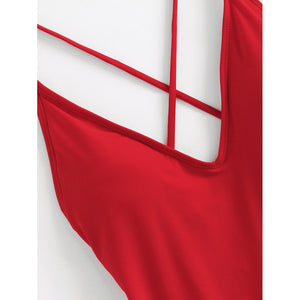 Criss Cross Back Ruched Detail Plunge Swimsuit