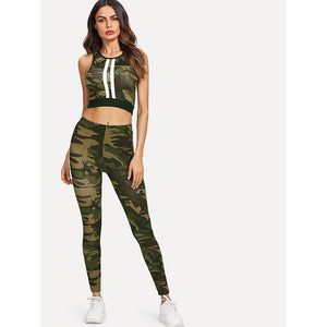 Camo Print Crop Tank Top With Tape Side Leggings