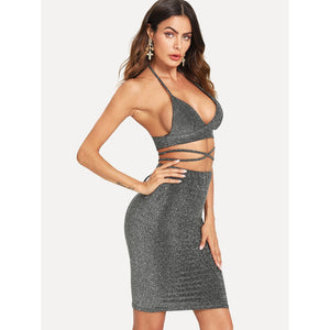 Criss Cross Knot Halter Top With Skirt