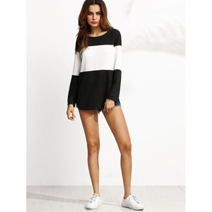 Contrast Curved Hem Textured Sweatshirt