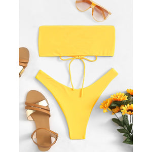 Lace-Up Plain Bikini Set