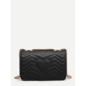 Chevron Detail Flap Chain Bag
