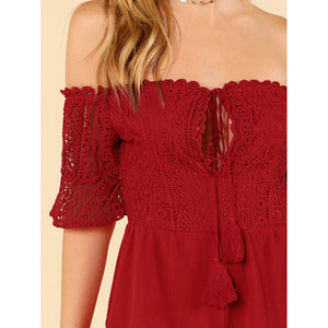 Embroidered Lace Bardot Romper