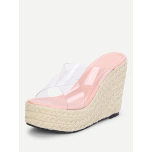 Criss Cross Clear Strap Wedge Sandals