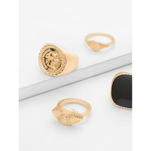 Contrast Retro Ring Set