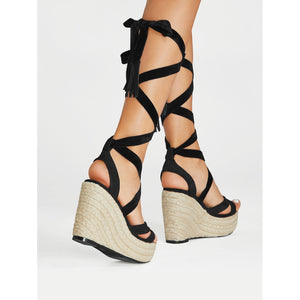 Criss Cross Lace Up Espadrille Wedges