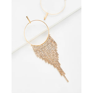 Chain Tassel Hoop Drop Earrings