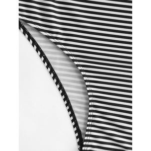 Cold Shoulder Flounce Striped Swimsuit