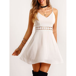 Cami Straps Lace Trim Slim Dress