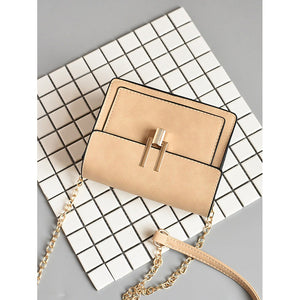 Contrast Piping Flap Chain Bag