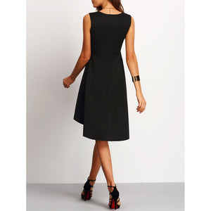 Asymmetrical Hem Flare Dress