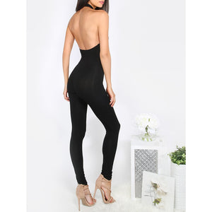 Halterneck Sleeveless Backless Jumpsuit