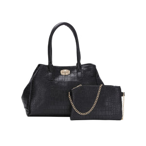 5pcs Faux Crocodile Embossed Leather Bag Set
