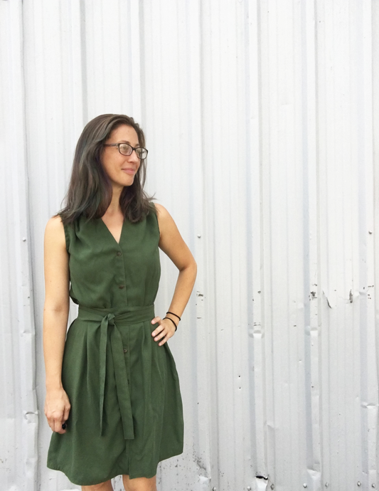 Buttondown Dress in Olive