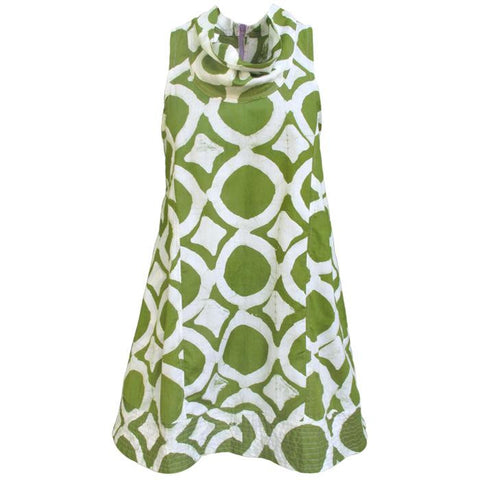 Cowl Neck Fish Eye Cotton Dress - Tunique Design
