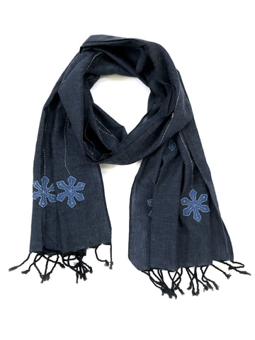 Blue applique, hand dyed and embroidered cotton scarf - Tunique Design