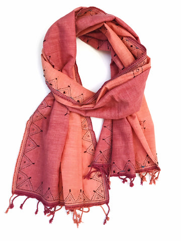 Cotton Peach Tanka Embroidered Scarf - Tunique Design
