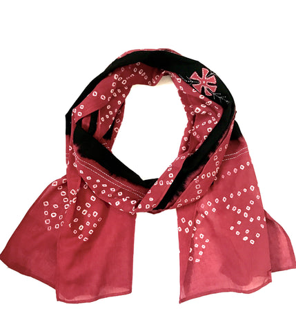 Cotton handprinted Tie Dye Scarf with Applique work - Tunique Design