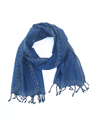 Blue Tanka Embroidered Scarf - Tunique Design