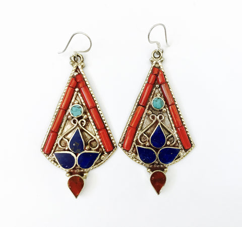 German Silver Earring with Lapis Stone work - Tunique Design