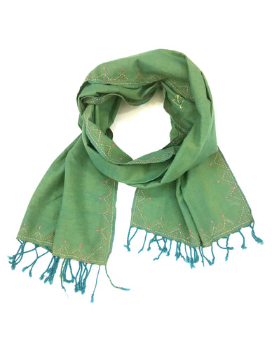 Peacock Green Embroidered Tasseled Scarf - Tunique Design