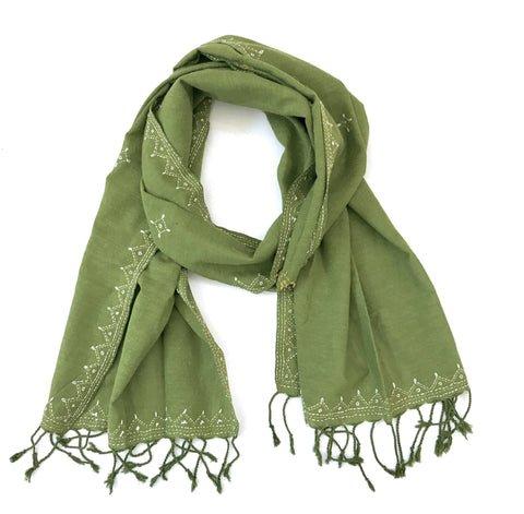 Green Cotton Tanka Hand Embroidered Scarf - Tunique Design