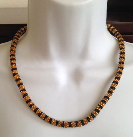 Black and Gold Glass beaded Necklace - Tunique Design