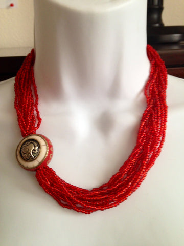 Red Glass Bead Necklace with Pendant - Tunique Design